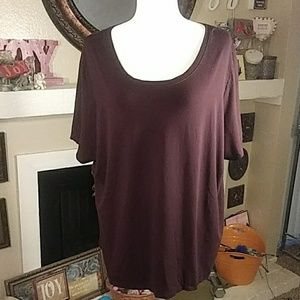 Eileen Fisher brown blouse short sleeves